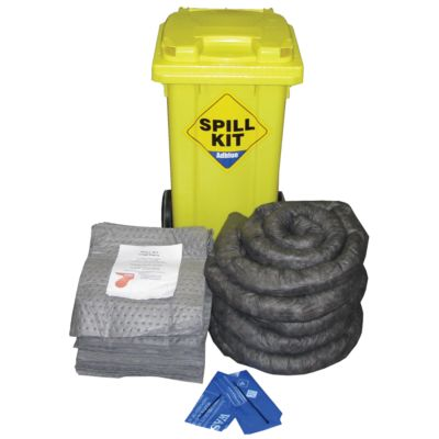 100 Litre Wheeled Bin General Purpose Spill Kit - Double Weight Pads