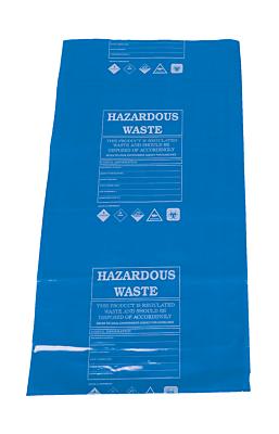 Hazardous waste disposal bags, blue, includes regulatory warning
