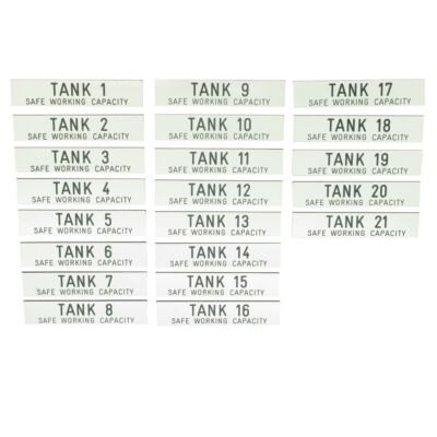 Tank Number Labels - Safe Working Capacity - Labels 1-21